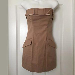 Bebe dark khaki strapless dress Sz 4 mini