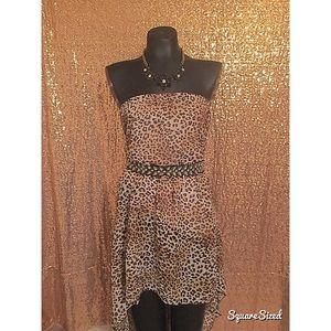 Dresses & Skirts - Glam high-low leopard print tube top dress!
