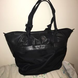 lululemon athletica Handbags - Lululemon black faux leather gym bag