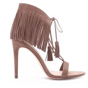 Forever 21 brown suede leather fringe heels 5.5