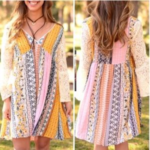 RYLAND printed dress w/ boho sleeves -MUSTARD
