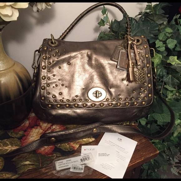 Coach RARE 15392 bronze w/stud Hamptons bag 👛 ❤😍