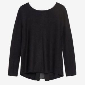 Market &Spruce Black Brookline Mixed Media Sweater