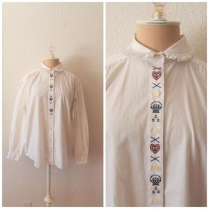 80s Eddie Bauer Embroider Button Up Country Blouse