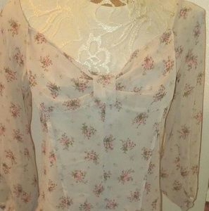 mine Tops - Cute bow floral top