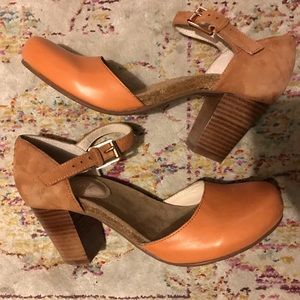 Swedish Hasbeens Shoes - NEW Tan Mary Jane Clogs