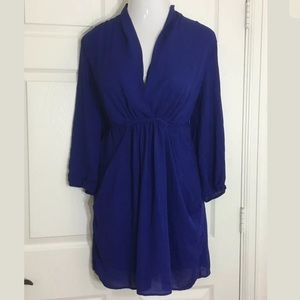 Bar III Dresses & Skirts - Bar III Blue 3/4 Sleeve Lined Surplice Dress