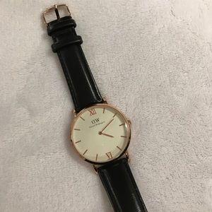 Daniel Wellington Accessories - Daniel Wellington Black + Rose Gold Leather Watch
