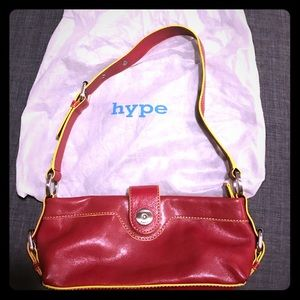 Hype Handbags - Hype Red Leather Small Purse with Yellow Trim