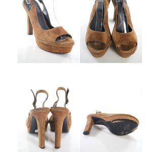 castaner Shoes - CASTANER BROWN ROUND TOE SUEDE SLINGBACKS SIZE 10