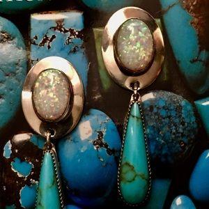 Francisco Gomez Turquoise Opal Sterling Earrings