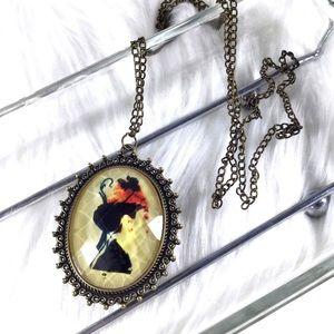 Audrey Hepburn Retro Cameo Antique Brass Necklace