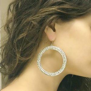 NWOT CZ Silver hoop dangle earrings