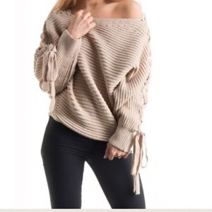 ⏰ Last 1 Taupe Boat Neck Lace-Up Sweater