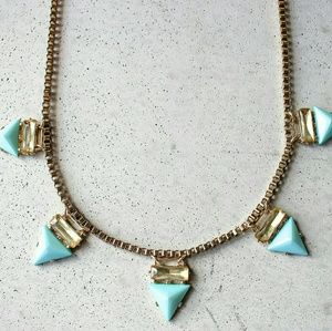 Turquoise spike triangle layering necklace