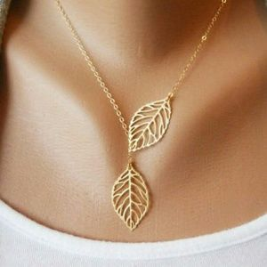 Iconic Legend Jewelry - Golden leaf necklace lariat dainty