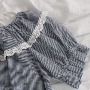 Tops - OFF SHOULDER PIN STRIPED BLOUSE