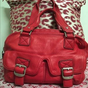 ❤NEW❤️️MICHAEL KORS❤️RED LEATHER SATCHEL❤️