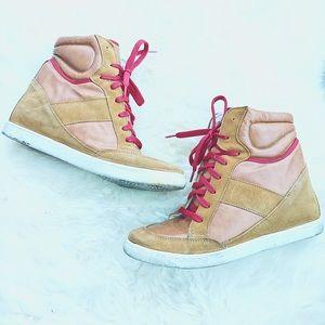 ASOS Tan Suede High Top Wedge Sneakers