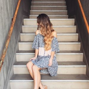 blush and blue floral dress