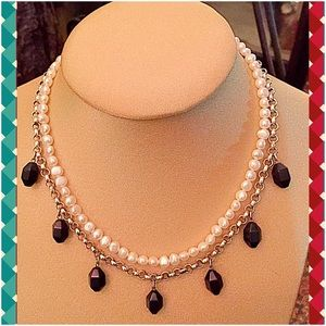 VTG 21st & Stone Jewelry - 💕.925 Sterling Silver, Pearl & Obsidian Necklace✨