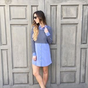 chambray mixed shirt dress