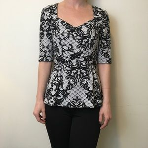 Anthropologie Tops - Postage Stamp Anthro Black & White Lace Top
