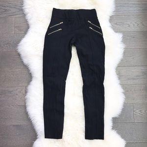 Zara Black Ponte Legging Pants With Zippers