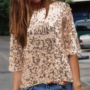 Tops - Champagne-colored Sequined Mesh Blouse