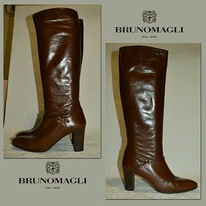 Bruno Magli Shoes - Bruno Magli Chocolate Brown Leather Riding Boots