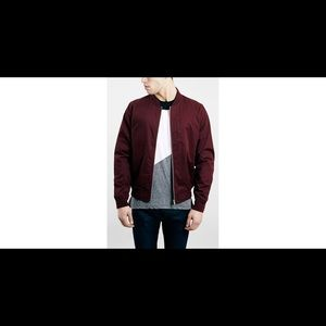 Topman Jackets & Blazers - Topman Burgandy/Maroon Bomber Jacket