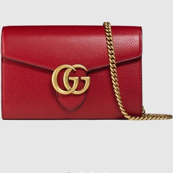 39b66b23ad2 Gucci Handbags - Gucci marmont leather mini chain bag
