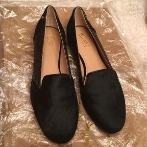 Shoes - NWT Iman leather calf hair and glitter loafers! 🔥