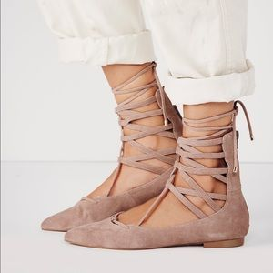 Jeffrey Campbell Shoes - Jeffrey Campbell Taupe Suede Lace Up Flats