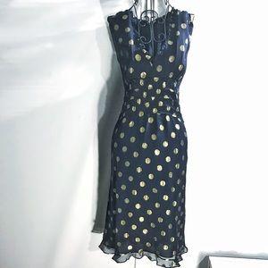 Derek Lam Dresses & Skirts - DEREK LAM BLUE AND GOLD POLKA DOT DRESS US 8 MED