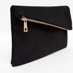 Kooba Handbags - Kooba Asymetric Black Clutch with Gold Details