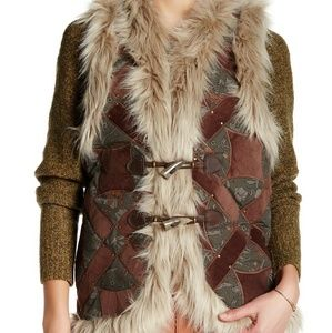 Free People Jackets & Blazers - Free People Studded Faux Fur Vest Bohemian Patch
