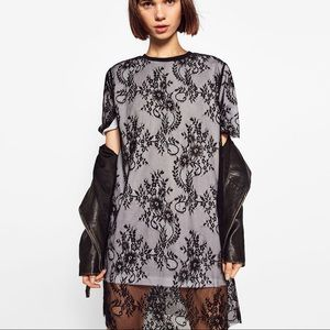 Zara mixed fabric lace dress