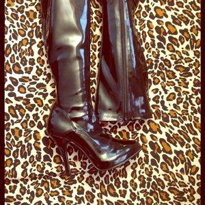 Funtasma Shoes - Black Vinyl Fetish Boots Size 6