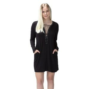 DEAL Lace up Dress- BLACK