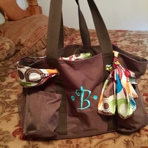 Handbags - Tote with B embroidered