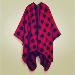 Black and red buffalo plaid poncho/scarf/throw