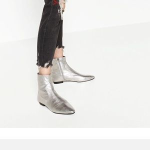 Zara Shoes - New with tags Silver leather booties