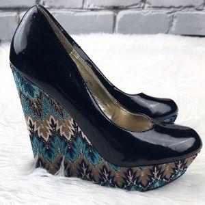 Steve Madden Shoes - 💕SALE💕Steve Madden P. Ellis Black &Blue Wedges