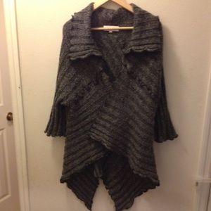 Sweaters - Drapey Grey 3/4 Sleeve Wrap/ Cardigan , L