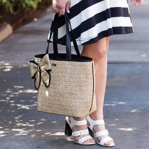 Kate Spade Belle Place Straw Tote with a Bow 🎀