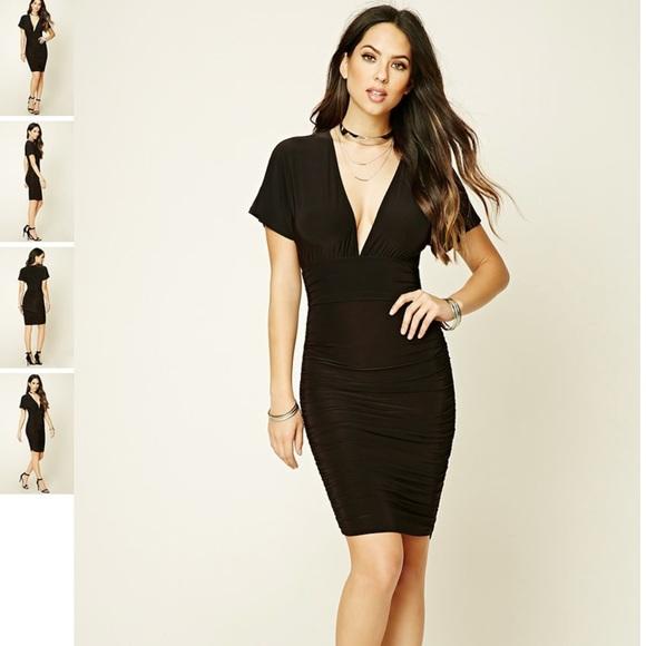 85f6cf579c Forever 21 Dresses | Black Plunged Neckline Tight Dress | Poshmark