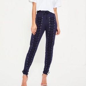 Missguided Pants - Black Lace Up Sweatpants -so trendy!!-