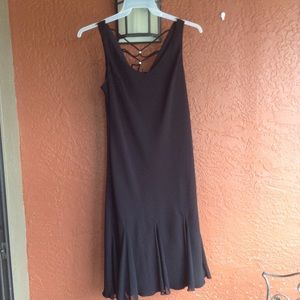 Black cocktail dress with straps in back