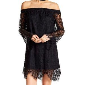 Love Fire Dresses & Skirts - Love Fire Black Lace Off The Shoulder Dress.